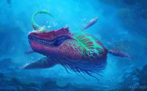 Picture The ocean, Sea, Predator, Fantasy, Monster, Art, Predator, Style, Underwater, Fiction, Under water, Ocean, Sea, …