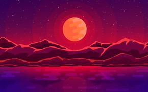 Picture sea, mountains, the moon