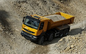 Picture orange, truck, Renault, body, dump truck, 8x4, four-axle, Renault Trucks, Kerax