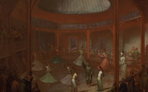 Picture oil, picture, canvas, 1737, Жан Батист Ван Мур, Jean Baptiste Vanmour, Танцующие дервиши в монастыре …