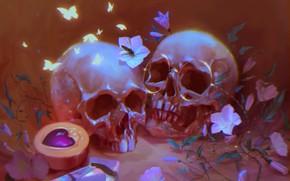 Picture flowers, glasses, skull, by Pauline Voß