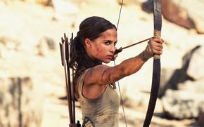 Wallpaper bow, grimy, action, adventure, girl, bokeh, Lara Croft, Mike, arrows, Tomb Raider: Lara Croft, Tomb ...