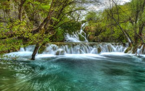 Picture water, waterfall, Croatia, Plitvice lakes