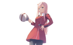 Picture girl, dress, cap, 002, Darling In The Frankxx, Cute in France, Zero Two