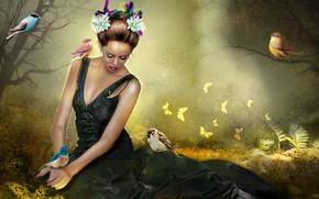 Picture grass, girl, birds, glade, wreath, photoart