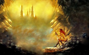 Picture Girl, Mountains, Sword, Red Sonja, Red Sonja, Boris Vallejo, Boris Vallejo, Invictus., Бронебикини