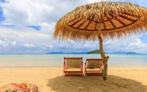 Picture sand, sea, beach, summer, the sky, the sun, palm trees, shore, umbrella, chaise, summer, beach, …