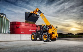 Picture the sky, cabin, concrete, wheel, bucket, unloading, JCB, loader, telehandler, JCB Loadall 560-80 Agri Pro, …