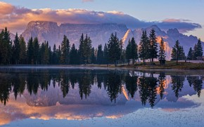 Wallpaper clouds, trees, mountains, nature, lake, reflection, morning, Csilla Zelko