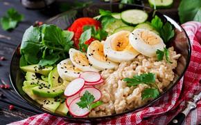 Picture Breakfast, vegetables, eggs, barley, cereal •