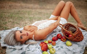 Picture apples, Girl, Alexey Yuriev