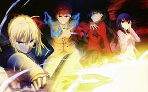 Picture girl, sword, Tohsaka Rin, the saber, Emiya Shirou, Artoria Pendragon, Fate stay night, Excalibur, Fate …