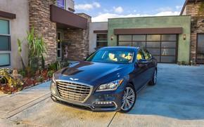 Picture car, machine, the sky, house, garage, driver, Parking, Genesis, Genesis G80
