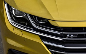 Picture yellow, headlight, the hood, Volkswagen, grille, bumper, the front, 2018, R-Line, liftback, 2017, Arteon