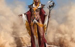 Wallpaper girl, fantasy, horns, smoke, sand, painting, artist, elf, artwork, wizard, fantasy art, staff, magician, pointed ...
