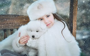 Picture winter, look, snow, smile, hat, portrait, dog, baby, shop, girl, puppy, white, fur, sitting, snowfall, …
