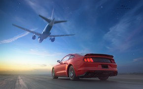Picture sunset, speed, Mustang, Ford, the plane, RTR