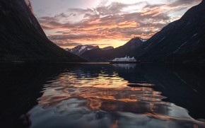 Picture sea, clouds, sunset, mountains, rocks, ship, the evening, pond, otragenie