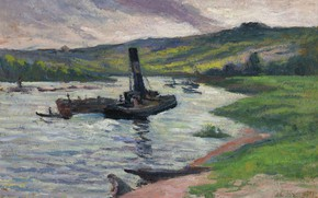 Picture landscape, picture, Tugboat on the Seine, Maximilien Luce, Maximilien Luce