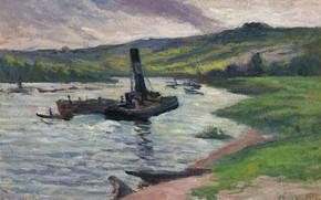 Picture landscape, picture, Tugboat on the Seine, Maximilien Luce, Maximilien Luce