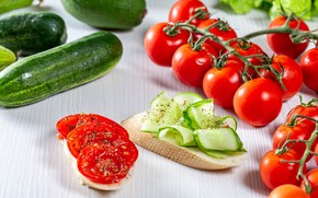 Picture table, bread, white background, tomatoes, on the branch, tomatoes, slices, fresh, cucumbers, sandwiches, baton, chopped