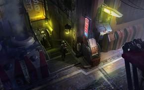 Picture Night, The city, Future, Neon, People, Fiction, Concept Art, Lane, Science Fiction, Cyberpunk, Environments, Eddie …