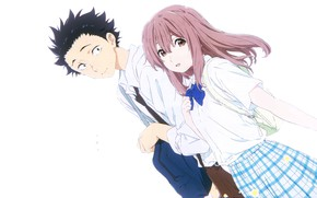 Picture girl, white background, guy, two, Form voice, You No Katachi