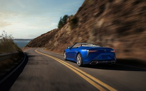 Picture road, speed, Lexus, rear view, Convertible, LC 500, 2021