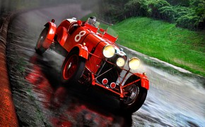 Picture Rapide, Rain, Lagonda, M45, 1935, road