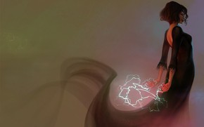 Picture girl, magic, lightning