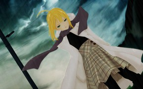 Picture girl, rain, the saber, Fate stay night, Fate / Stay Night