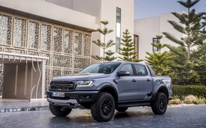Picture grey, Ford, Raptor, pickup, Ranger, 2019, near the building