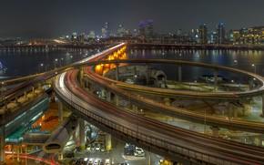 Picture road, machine, night, bridge, lights, river, design, building, home, lights, Parking, Seoul, South Korea