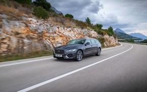 Picture road, markup, Jaguar, in motion, universal, Jaguar XF, 2020, XF, XF Sportbrake