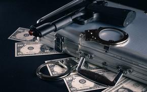 Picture gun, money, dollars, handcuffs, bills, case