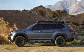 Picture mountains, Volkswagen, side view, SUV, Atlas, 2019, dark gray, Basecamp Concept