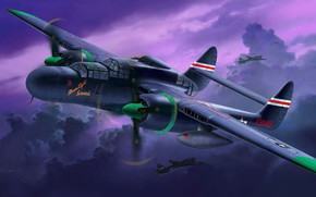 Picture Northrop, UNITED STATES AIR FORCE, P-61, Black Widow, Black widow, American heavy night fighter