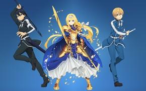 Picture kawaii, girl, sword, gold, armor, anime, beautiful, pretty, ken, blade, hero, cute, manga, Alicia, Sword …