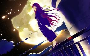 Picture kimono, the full moon, long hair, on the roof, starry night, visual novel, geta, irotoridori …