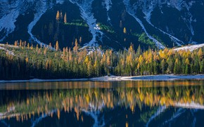 Picture autumn, forest, mountains, lake, reflection, Italy, Italy, The Dolomites, South Tyrol, South Tyrol, Dolomites, Lake …