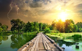 Wallpaper the storm, summer, the sky, the sun, clouds, trees, clouds, bridge, lightning, river