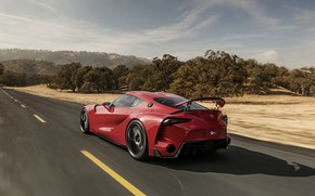 Picture red, coupe, speed, Toyota, wing, 2014, FT-1 Concept