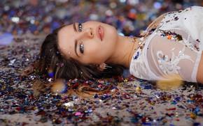 Picture girl, face, model, makeup, chain, beautiful, David Olkarny