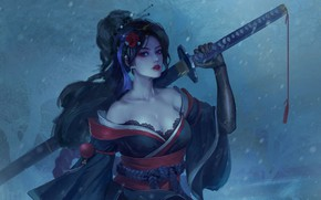 Picture cold, flower, look, girl, snow, weapons, fantasy, art