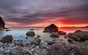 Picture sea, the sky, the sun, clouds, rays, light, landscape, sunset, clouds, nature, stones, rocks, pink, …