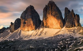 Picture clouds, light, mountains, stones, rocks, tops, the evening, Italy, relief, blocks, mountain range, The Dolomites