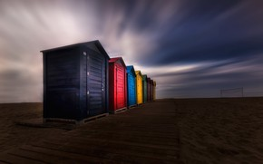 Picture beach, night, houses