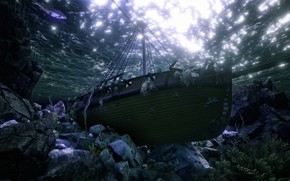 Picture sea, water, light, fish, stones, rendering, ship, the bottom, under water, sunken, the ship, at …