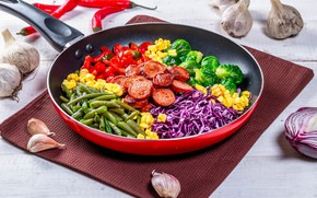 Picture vegetables, sausage, pan
