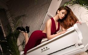 Picture look, girl, pose, hair, figure, dress, piano, Taranda, Taras Taranda